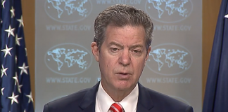 Former Kansas Gov. Sam Brownback, U.S. ambassador at large for international religious freedom, departs the post Wednesday following the re-election defeat of President Donald Trump to Democrat Joe Biden. (Screenshot of U.S. State Department briefing/Kansas Reglector)