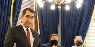 Kansas Attorney General Derek Schmidt joined a dozen other attorneys general in support of a lawsuit challenging a federal law limiting direct and indirect use of COVID-19 stimulus funding to reduce state taxes. (Noah Taborda/Kansas Reflector)