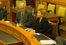 Sen. Caryn Tyson, the Parker Republican who chairs the Senate Assessment and Taxation Committee, extended to another day the combative confirmation hearing for Robert Marx, a nominee to the Kansas Board of Tax Appeals, who is opposed by the Kansas Chamber. (Screen capture/Kansas Reflector)
