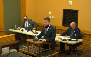 Sen. Jeff Pittman, R-Leavenworth, urged the 2021 Legislature to approve issuance of up to $17.5 million in bonds to draw twice that amount in federal funding for construction of a nursing home for veterans in northeast Kansas. (Screen capture/Kansas Reflector)
