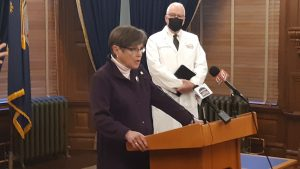 Gov. Laura Kelly responded to criticism from Rep. Sean Tarwater by seeking the lawmaker's help in reforming a 2013 law that she said excessively punished Kansans for taking more unemployment benefits that qualified to receive. (Tim Carpenter/Kansas Reflector)
