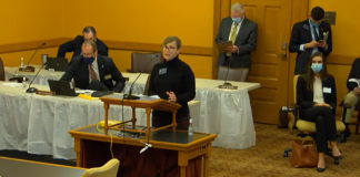 Rachel Monger, representing LeadingAge Kansas', said it was essential, for the 2021 Legislature to grant adult care facilities immunity from COVID-19 lawsuits retroactive to March 2020 to create equity with hospitals and clinics provided that protection in terms of the pandemic. (Screenshot/Kansas Reflector)
