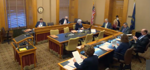 The Senate Federal and State Affairs Committee is considering a bill legalizing sports betting in the state. The committee heard Wednesday fom proponents of the bill and plans to take testimony from opponents Thursday at the Capitol. (Screenshot/Kansas Reflector)
