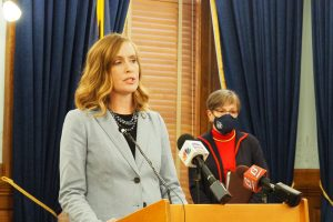 Senate Minority Leader Dinah Sykes, Lenexa Democrat, said the process for awarding about $500 million to businesses impacted by COVID-19 government mandates lacks transparency and could promote back-room deals. (Sherman Smith/Kansas Reflector)
