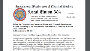"""John Garretson of Local Union 304 of the International Brotherhood of Electrical Workers, said a pending House bill altering state law on public employee unions would create an """"administrative nightmare."""" (Screen capture/Kansas Reflector)"""
