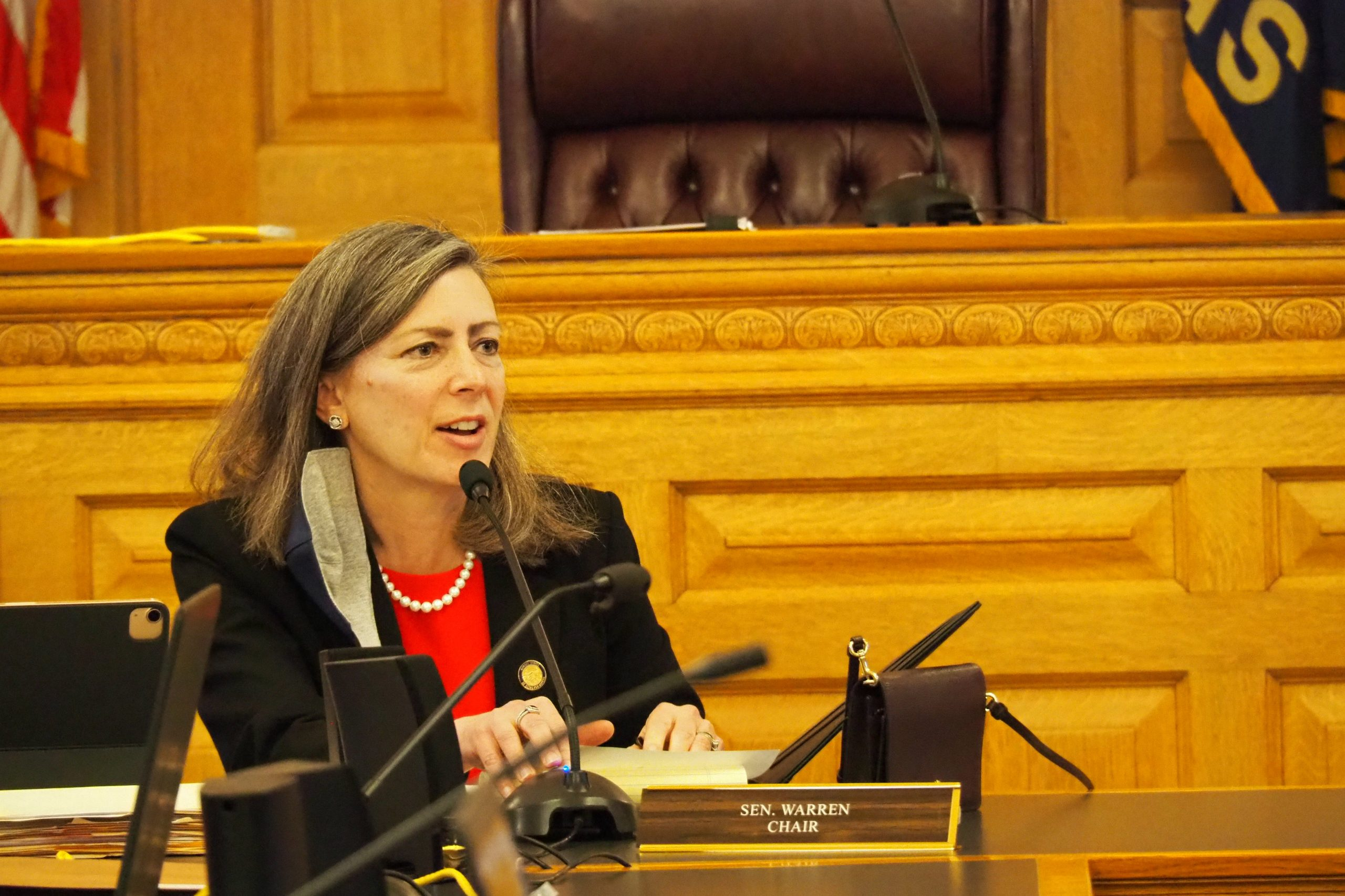 Sen. Kellie Warren, R-Leawood, opened work Wednesday in the Senate Judiciary Committee on a bill overhauling the state's disaster management law to restrain Gov. Laura Kelly and influence how counties, cities, schools respond to disasters such as the COVID-19 pandemic. (Noah Taborda/Kansas Reflector)