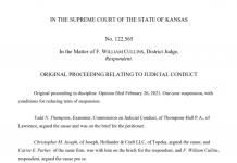 The Kansas Supreme Court issued an order suspending District Court Judge William Cullins from work as a judge for one year for making racist and sexist remarks in the courthouse that created a hostile working environment. He will be given an opportunity to reduce the sanction by engaging in professional counseling and training. (Screen capture/Kansas Reflector)