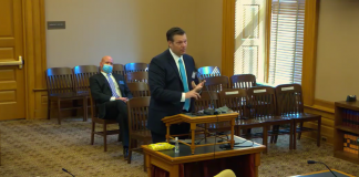 Attorney Kris Kobach, a former Kansas secretary of state, endorsed a Senate bill that restores firearm rights to people who have felony convictions expunged and eliminates certain five- or 10-year bans on possession by felons. (Screen capture/Kansas Reflector)