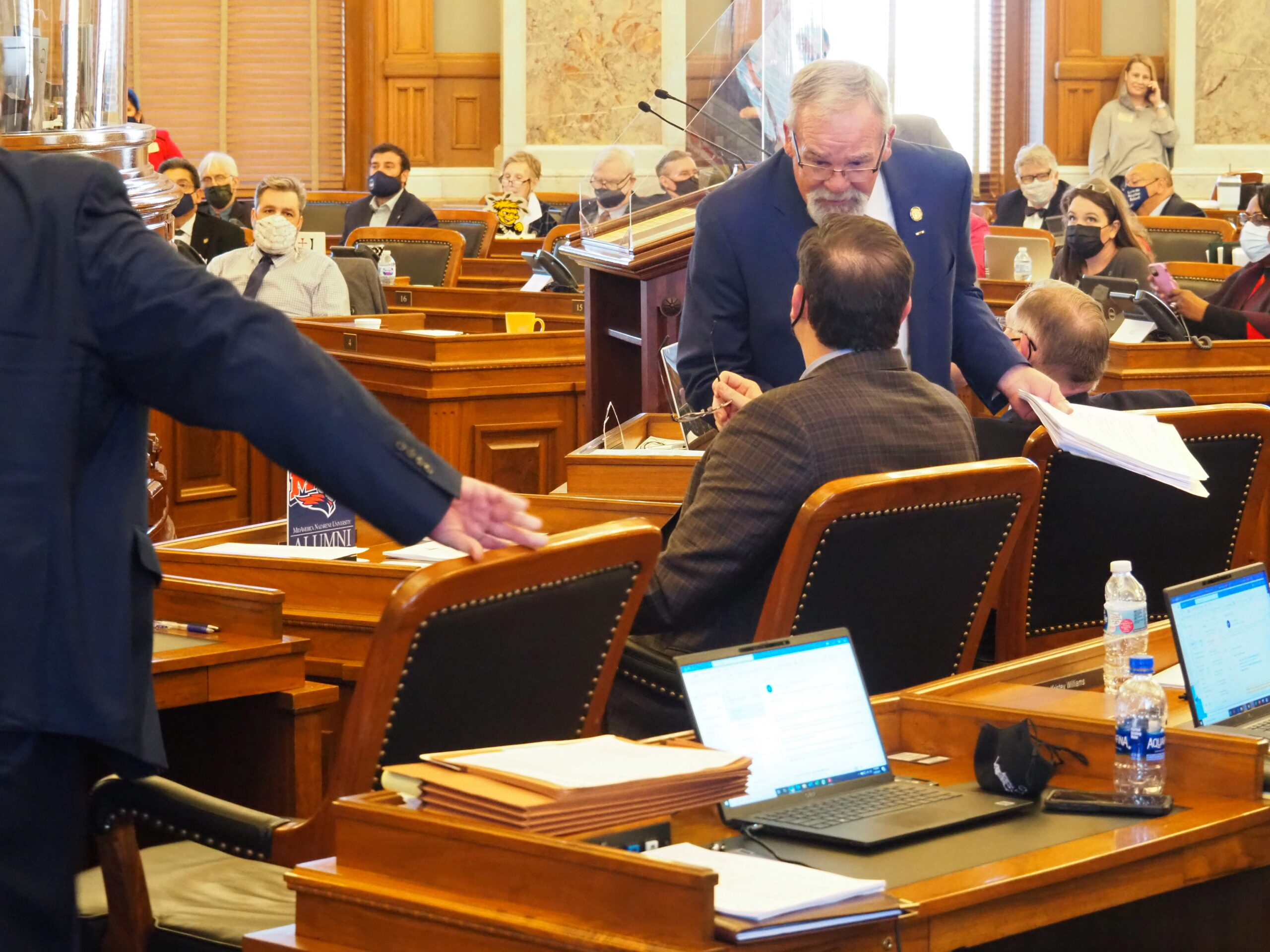 Rep. John Barker, R-Abilene, failed to persuade the Kansas House to accept an overhaul of the Senate's sports gambling bill and weakening the prospect of a deal being reaching in the 2021 legislative session. (Tim Carpenter/Kansas Reflector)