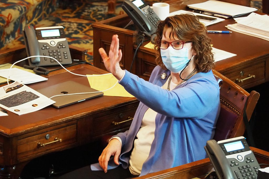 Sen. Mary Ware, D-Wichita, said she was committed to wearing a mask to stem spread of COVID-19 because threat of the deadly virus remained. (Sherman Smith/Kansas Reflector)