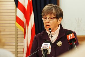 Democratic Gov. Laura Kelly, who is seeking re-election in 2022. Expansion estimates for new enrollees may have decreased in 2021, but Gov. Laura Kelly remains steadfast in her efforts to expand access to health care through the program. (Sherman Smith/Kansas Reflector)