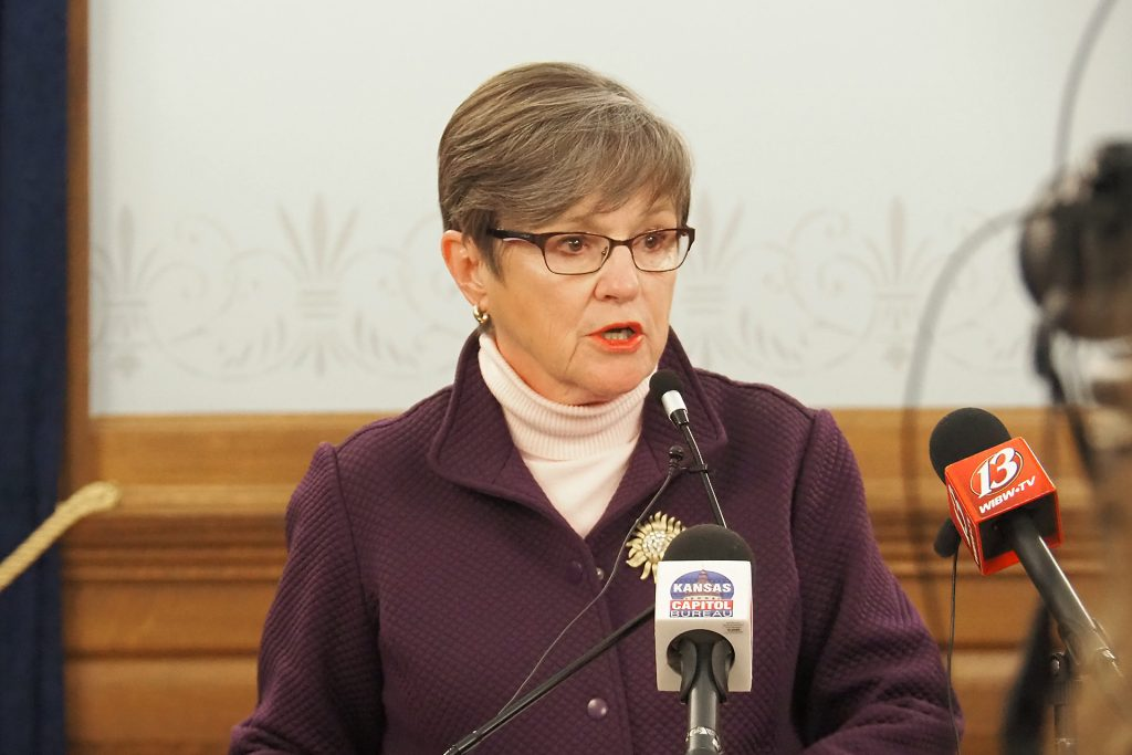 """Gov. Laura Kelly vetoed Senate Bill 50 containing tax reform provisions sought by the Republican majority in the Legislature but labeled by the Democratic governor as """"fiscally irresponsible."""" (Sherman Smith/Kansas Reflector)"""