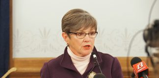 "Gov. Laura Kelly vetoed Senate Bill 50 containing tax reform provisions sought by the Republican majority in the Legislature but labeled by the Democratic governor as ""fiscally irresponsible."" (Sherman Smith/Kansas Reflector)"