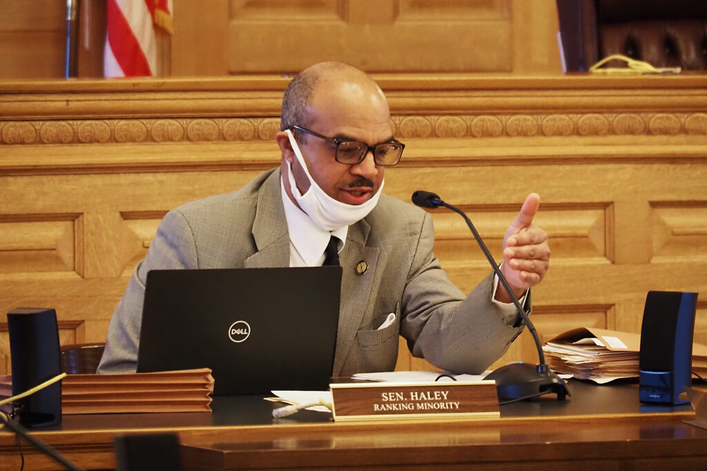 Sen. David Haley, a Democrat from Kansas City, Kansas, lauded legislation honoring Adrian Jones, a severely abused 7-year-old boy killed in 2015 and his body fed to hogs. Allegations of abuse had come to attention of officials in Kansas and Missouri. (Sherman Smith/Kansas Reflector)