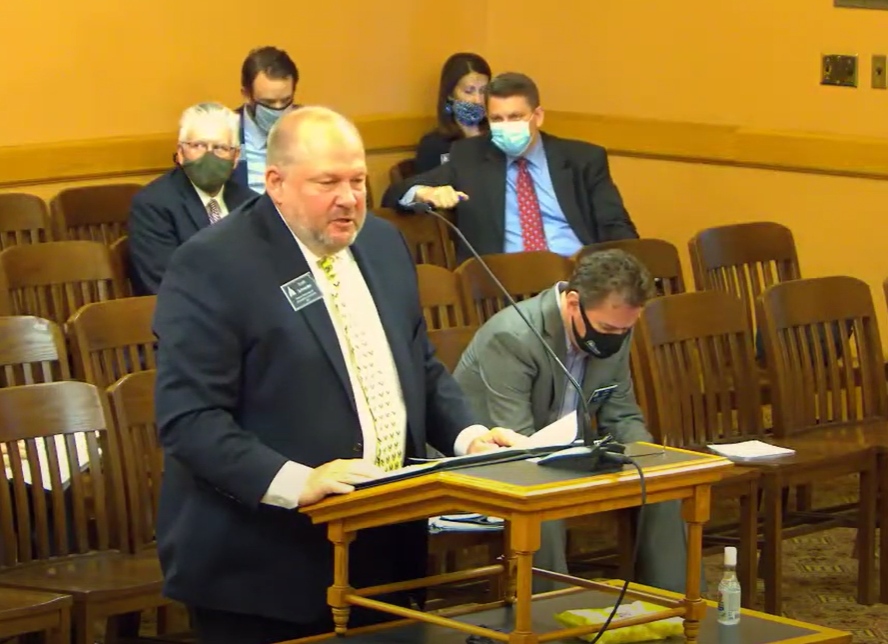 Scott Schneider, a lobbyist with the Kansas Restaurant and Hospitality Association, said the 2021 Legislature needed to develop mechanisms for county and state governments to compensate businesses forced to close or reduce services during the COVID-19 pandemic. (Screen capture/Kansas Reflector)