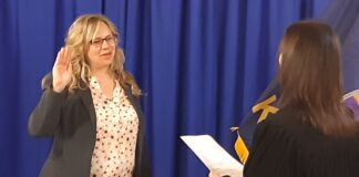 Amber Shultz took the oath of office Friday to serve as secretary of the Kansas Department of Labor, which has been under a microscope for more than a year during the COVID-19 pandemic. (Tim Carpenter/Kansas Reflector)