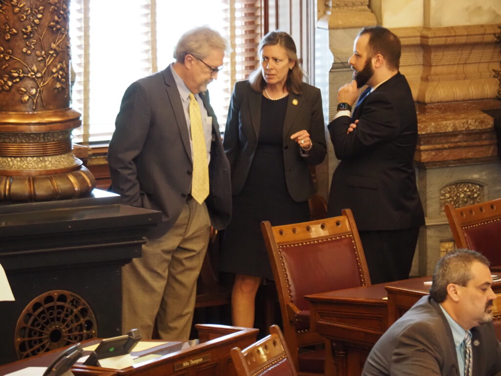 Sen. Kellie Warren, a Leawood Republican and chairwoman of the Senate Judiciary Committee, helped usher through the Legislature a bill offering as much as $500 million to businesses in compensation for government restrictions imposed during the COVID-19 pandemic. (Tim Carpenter/Kansas Reflector)