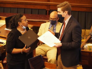 Sen. Oletha Faust-Goudeau, D-Wichita, failed to convince Senate colleagues to include in a bill recognition that firearm safes and locked boxes have a place in the state's development of firearm safety curriculum in K-12 public schools. (Tim Carpenter/Kansas Reflector)