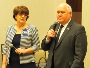 State Rep. Susan Estes and U.S. Rep. Ron Estes addressed the 2nd congressional district attendees at the Kansas Republican Party convention in Manhattan. (Tim Carpenter/Kansas Relector)