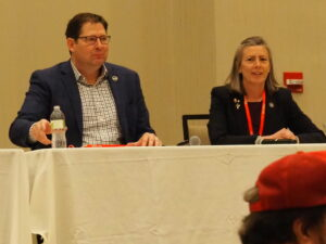 House Speaker Ron Ryckman and Sen. Kellie Warren outlined objections to Gov. Laura Kelly's vetoes and pointed to other unfinished business in the 2021 legislative session during the Kansas Republican Party convention in Manhattan. (Tim Carpenter/Kansas Reflector)