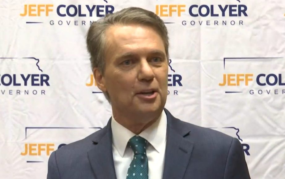 Former Gov. Jeff Colyer, who is seeking the 2022 GOP nomination for governor, faulted former Democratic Gov. Kathleen Sebelius for suggesting people unvaccinated for COVID-19 ought to have access limited to workplaces or where people vulnerable to the virus could be found. (Tim Carpenter/Kansas Reflector)
