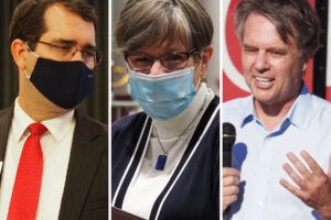The 2022 Kansas governor's race will feature, from left, Republican Attorney General Derek Schmidt, Democratic Gov. Laura Kelly and former GOP Gov. Jeff Colyer. Kelly's veto of tax, firearms and other bills will likely become an issue in the campaign.. (Kansas Reflector)