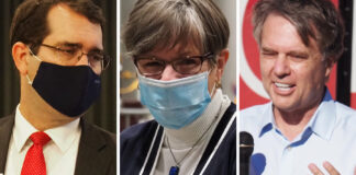 The 2022 Kansas governor's race will feature, from left, Republican Attorney General Derek Schmidt, Democratic Gov. Laura Kelly and former GOP Gov. Jeff Colyer. The footprint of the COVID-19 pandemic will likely be a factor in Kelly's re-election campaign. (Kansas Reflector)