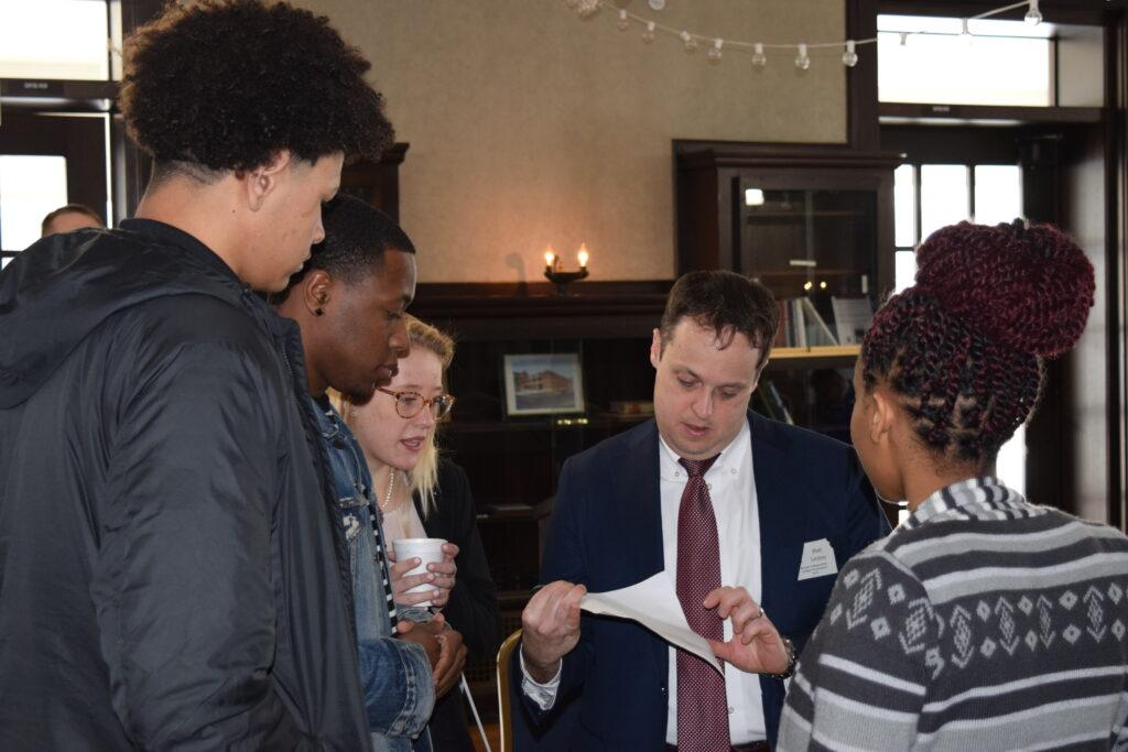 Matt Lindsey, center facing, president of the Kansas Independent College Association, said the 20 accredited institutions in the organization proved to be a magnet for students during the COVID-19 pandemic. (Submitted/Kansas Reflector)