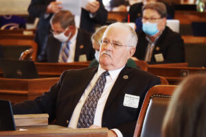Rep. Ron Highland, a conservative Republican from xxx, said he was opposed to legalization of medical cannabis in Kansas because the federal government considered marijuana a dangerous substance. (Sherman Smith/Kansas Reflector)