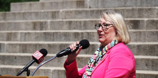 Sen. Molly Baumgardner, chairwoman of the Senate Education Committee, praised Friday a compromise school funding bill also championed by Gov. Laura Kelly. (Sherman Smith/Kansas Reflector)