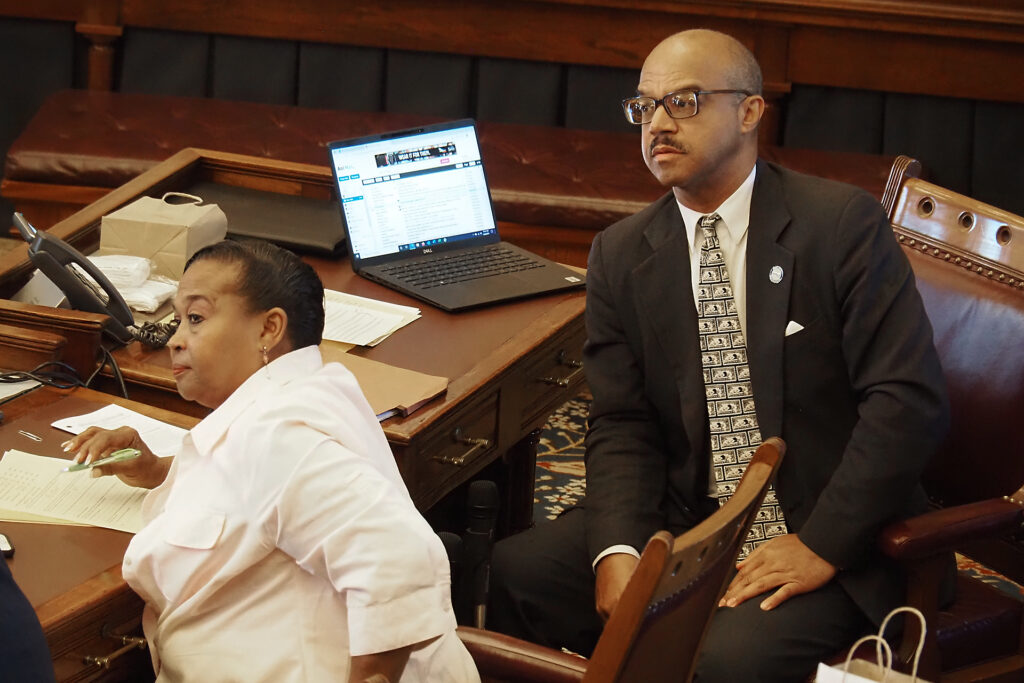 Sen. David Haley, a Democrat on the Legislature's task force on DNA evidence related to closed or cold cases, said Kansas officials should set the standard for distribution to prosecutors, law enforcement and defense attorneys relevant matches from DNA testing databases. (Sherman Smith/Kansas Reflector)