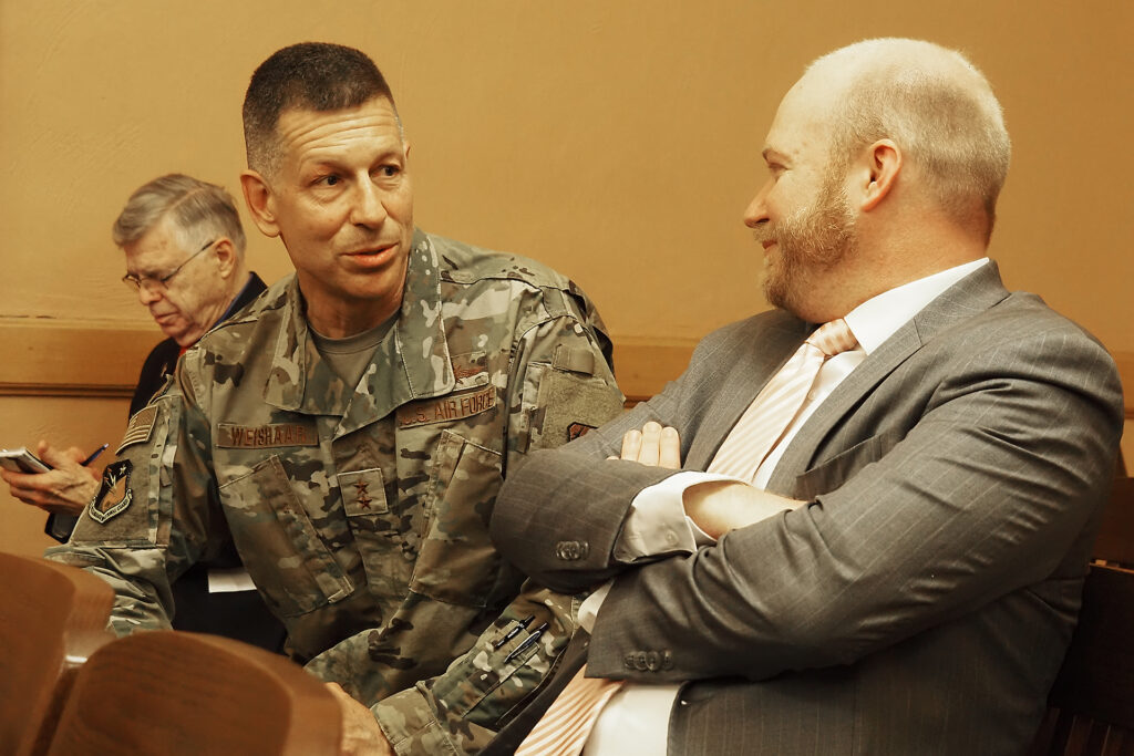 Maj. Gen. David Weishaar, the Kansas adjutant general, said about 280 Air and Army members of the Kansas National Guard would deploy to Louisiana to support hurricane recovery efforts. (Sherman Smith/Kansas Reflector)