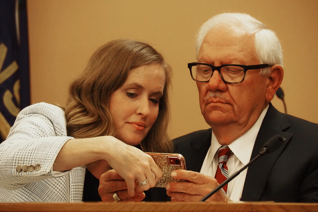 Senate Minority Leader Dinah Sykes, left, is critical of the decision by Sen. Rick Wilborn, right, and the Legislature's GOP leadership to pack public hearings in 14 cities on redistricting into five days in August. (Sherman Smith/Kansas Reflector)
