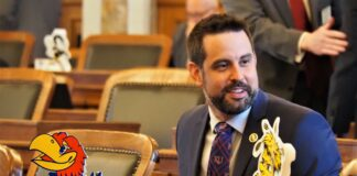 Rep. Mark Samsel, a Wellsville Republican, has been ordered not to set foot on Wellsville school district property or attend any school events for one year following his arrest for alleged misconduct as a substitute teacher. (Noah Taborda/Kansas Reflector)