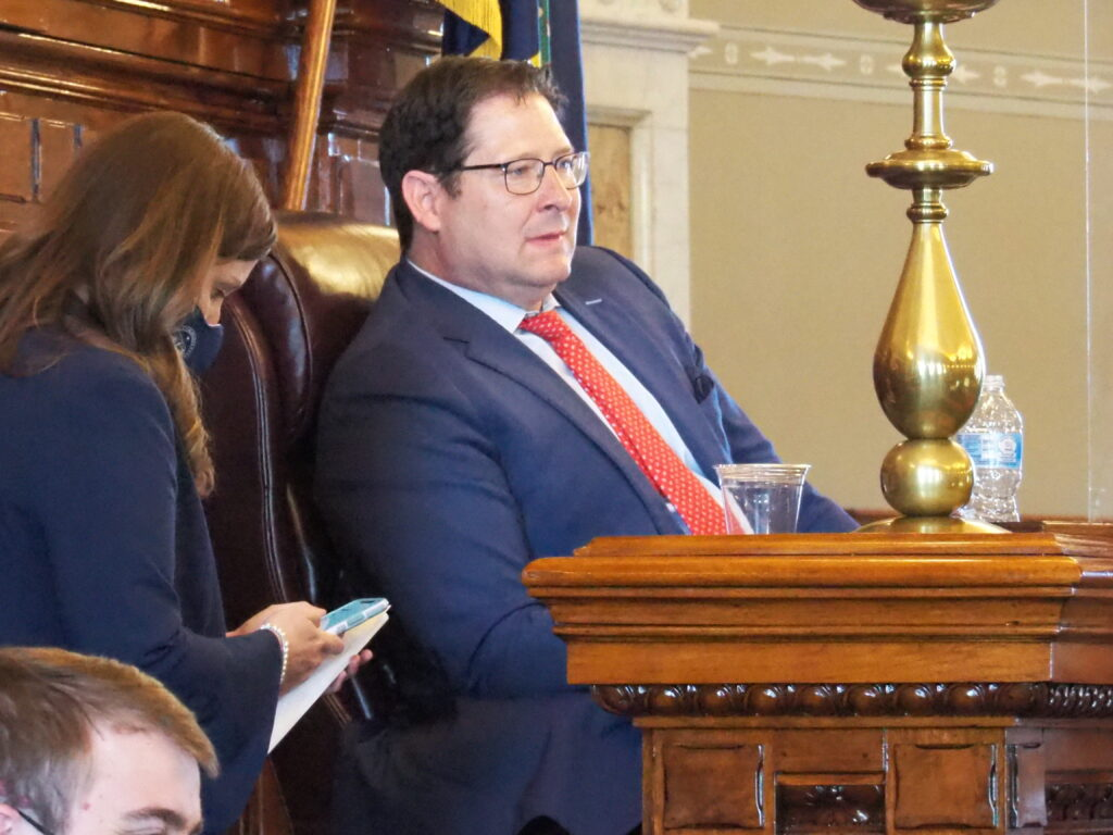 House Speaker Ron Ryckman, R-Olathe, urged Gov. Laura Kelly avoid a statewide mask mandate in response to the delta variant of COVID-19, but pressured the unvaccinated to get a coronavirus shot. (Tim Carpenter/Kansas Reflector)