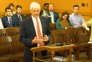 Wint Winter, a Lawrence attorney and nominee for the Kansas Board of Regenets, said he opposed teaching critical race theory in classrooms because students should dive into facts of the United States' history of fighting for equal rights for all. (Screen capture/Kansas Reflector)