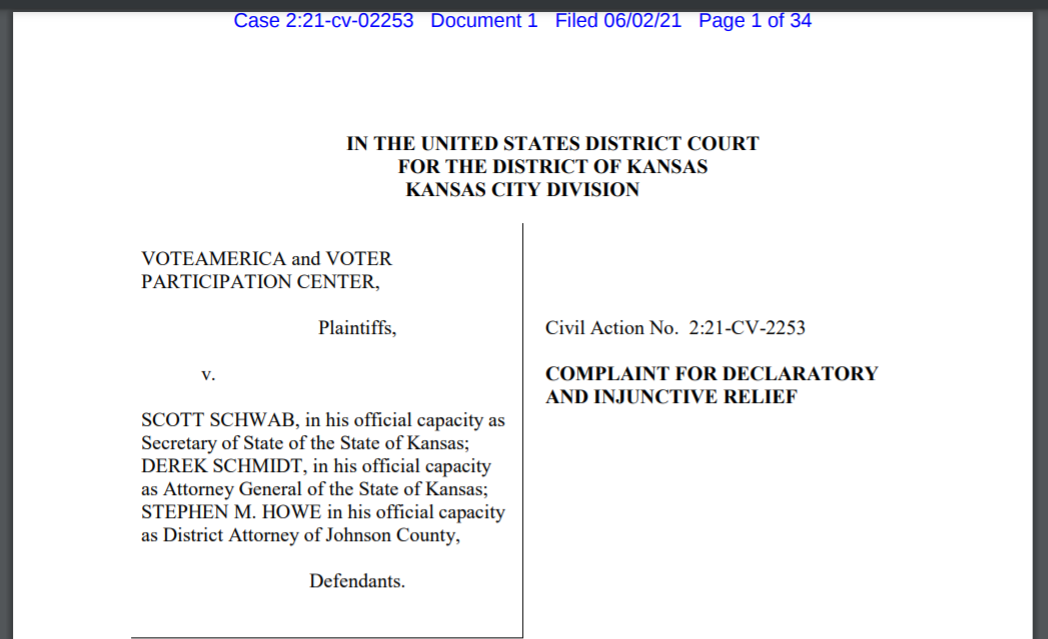 A pair of nonprofit organizations supportive of advance mail voting filed a federal lawsuit Wednesday challenging Kansas' new restrictions on the process of acquiring an advance ballot. (Screen capture/Kansas Reflector)