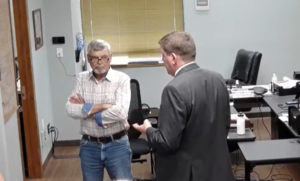 Bourbon County Commission Chairman Lynne Oharah, left, said the commission had little leverage to force ouster of Bourbon County Attorney Jacqie Spradling, who faces disbarment. She resigned effective June 30. (Screen capture/Kansas Reflector)