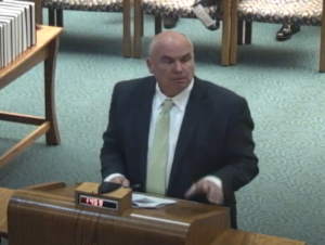 Attorney Linus Baker's request in 2015 for release of two public hearings in Johnson County District Court set off a legal dispute that reached the Kansas Supreme Court. (Screen capture/Kansas Reflector)