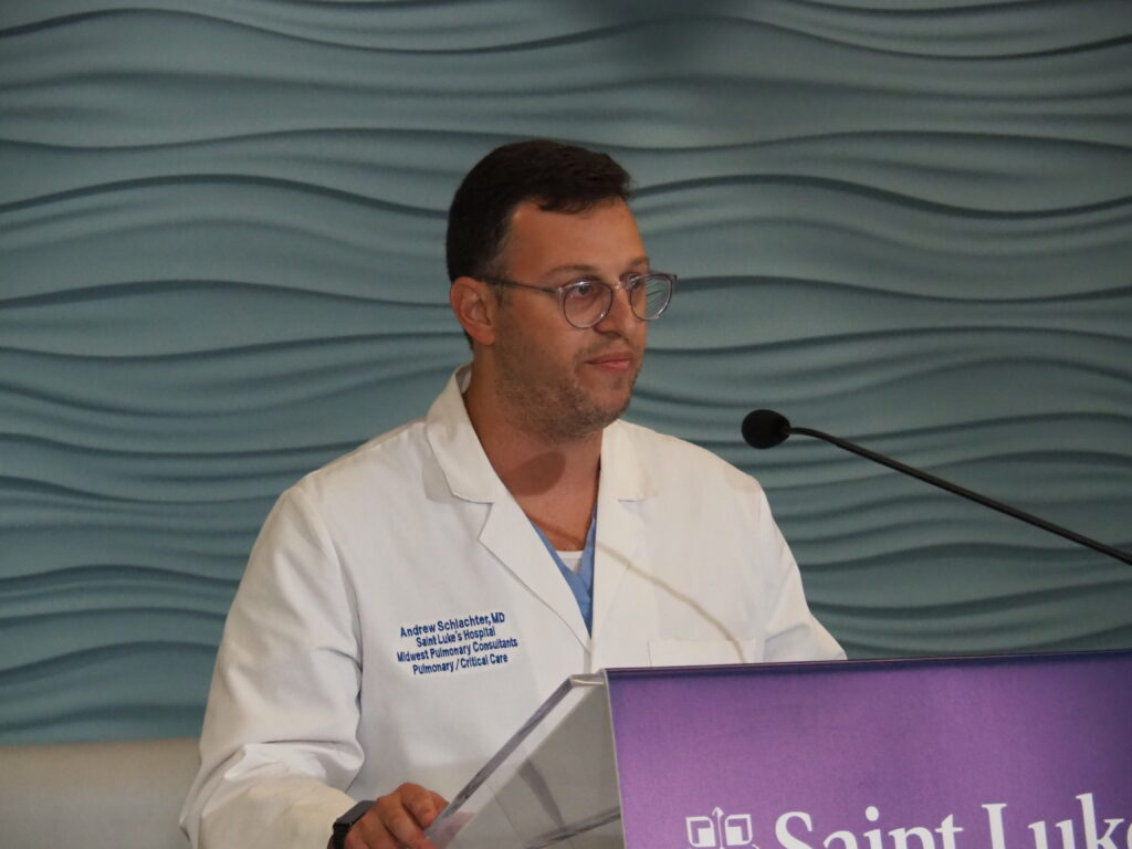 Physician Andrew Schlachter of Saint Luke's Health System offered an emotional appeal Friday in support of vaccination against COVID-19 due to the surge in younger, sicker ICU patients undercut by the Delta variant of the virus. (Tim Carpenter/Kansas Reflector)