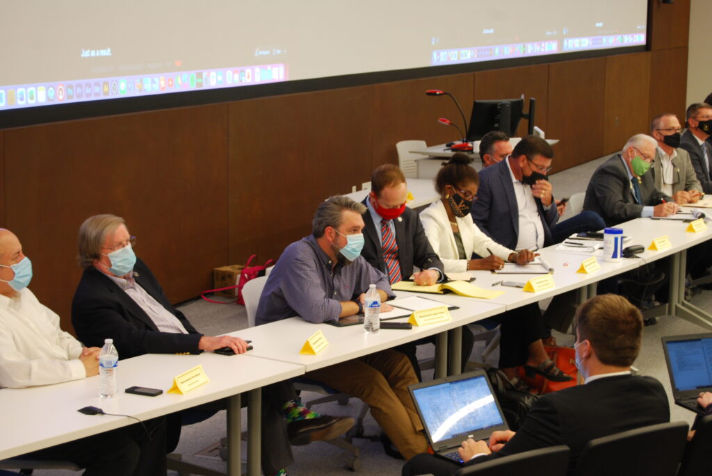 Twenty members of the Kansas Legislature absorbed public comment on redistricting and the evils of gerrymandering during a town hall Friday in Lawrence at the University of Kansas. (Tim Carpenter/Kansas Reflector)