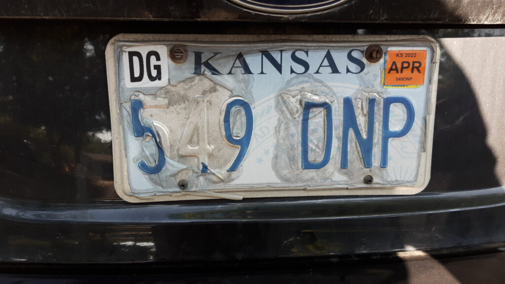 An undetermined number of older Kansas license plates are losing their skins and raising the prospect of motorists being ticketed because law enforcement unable to distinguish the numbers and letters. (Submitted)
