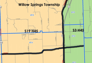 Failure by the Kansas Legislature to agree on redistricting maps in 2012 resulted in boundaries being decided by federal judges, who divided Willow Springs Township into four quadrants. (Screen capture/Kansas Reflector)