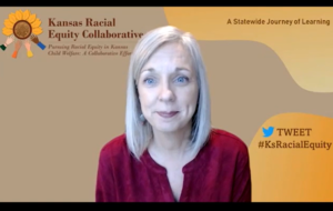 Becci Akin, an associate professor at the University of Kansas and director of the foster care improvement initiative Kansas Strong for Children and Families, said racial disparities occur at many different decision points in the stat's child welfare system. (Screen capture from DCF forum/Kansas Reflector)
