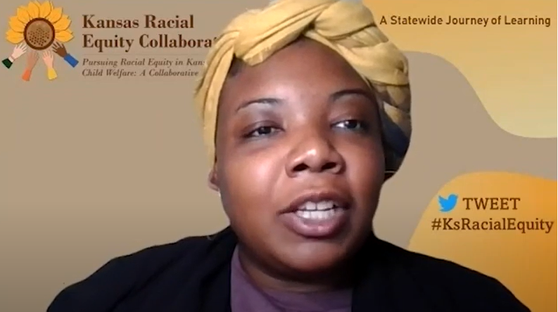 Brandi Turner, the diversity, equity, inclusion officer at the Kansas Department for Children and Families, says the quest to undermine structural racism in the state's foster care system could trigger sharp reaction among people having their values debunked. (Screen capture DCF forum/Kansas Reflector)