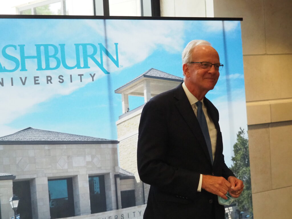 U.S. Sen. Jerry Moran, a Kansas Republican, said during a stop at Washburn University in Topeka the withdrawal of U.S. troops from Afghanistan made clear Congress in the future should rely on declarations of war rather than open ended resolutions authorizing the executive branch to wage war. (Tim Carpenter/Kansas Reflector)