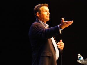 Kris Kobach, a Republican running for attorney general, said the most difficult threat to anti-vaccination forces was finding a way to block private businesses from requiring employees get a COVID-19 shot. (Tim Carpenter/Kansas Reflector)