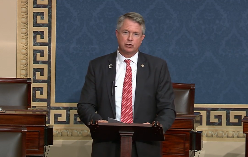 U.S. Sen. Roger Marshall, a Kansas Republican, said he would vote against the House-passed resolution to avoid a shutdown of the federal government. (Screen capture/Kansas Reflector)
