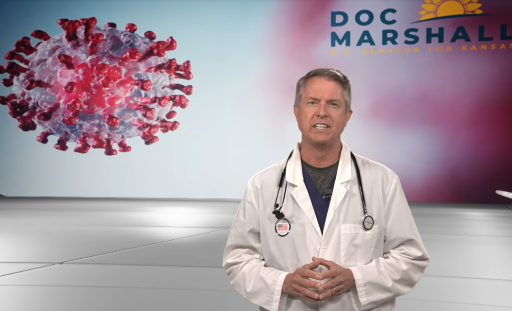 U.S. Sen. Roger Marshall, a Kansas Republican, is calling for a comprehensive congressional investigation of China's responsibility for the COVID-19 outbreak. He offered a 13-minute video argument in support of his proposal. (Screen capture/Kansas Reflector)