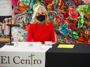 First Lady Jill Biden said during an event at El Centro in Kansas City, Kansas, that more people should realize that government can be a force for good and that reality could be seen in response to the COVID-19 pandemic. (Tim Carpenter/Kansas Reflector)